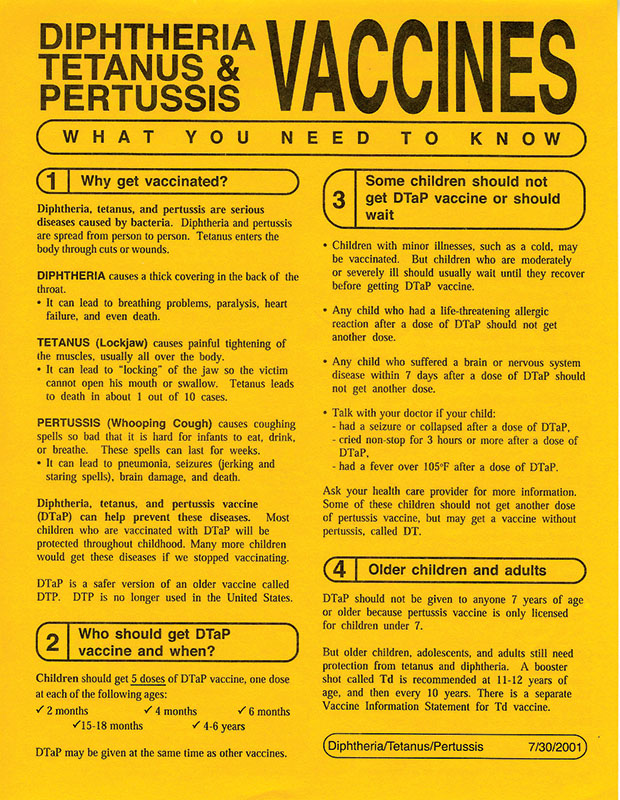 Dtap Diptheria Tetanus Pertussis Vaccine Information