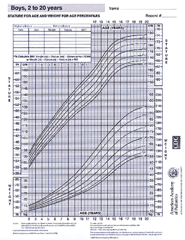 Growth Chart - Boys 2-20 Years - Aap