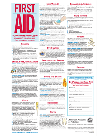 image relating to Printable Pocket First Aid Guide named 3-within-1 Initially Assist, Choking, CPR Chart 100/pk - AAP