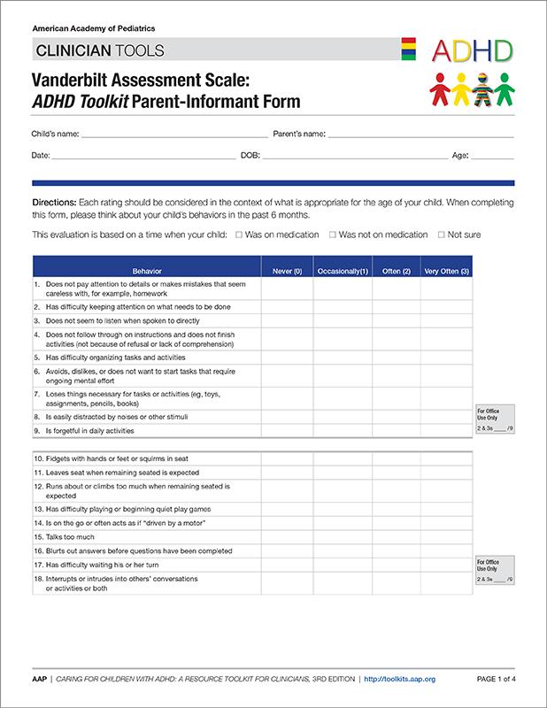 Vanderbilt Assessment Scale Adhd Toolkit Parent Informant Form 50 Pk Aap